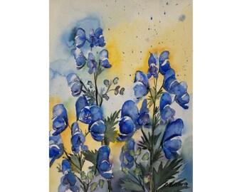 Flower Painting of Aconite  - Original Watercolor, Blue Flowers, Autumn Flowers