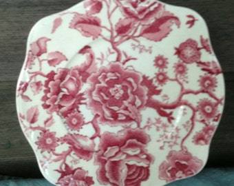 Vintage Johnson Brothers Plate, English Chippendale, Red Transferware, Collectible China, Garden Party, Vintage Gift, Tea Party, England, R