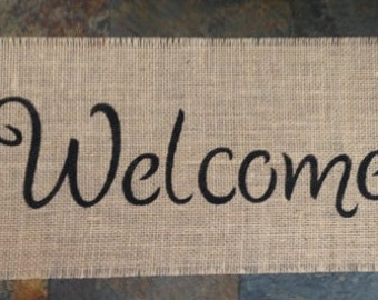 Primtive Natural Jute Burlap Welcome Sign Panel Banner Applique