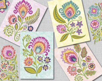 "Papercut Style Floral Blank Note Cards Polish Folk Art Wycinanki Flowers Botanical-""Promise"" Set of 4-Blossom Colors"