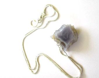Amethyst Crystal Pendant, Amethyst Necklace, Amethyst Slice, Silver Amethyst Slice, Pendant