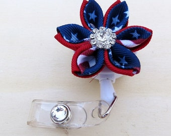 Retractable ID Holder Pointed  Petals Kanzashi Flower ID Badge Reel July 4th ID Reel