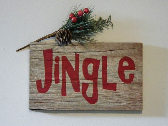 Rustic Holiday Decor Barnwood Christmas Decoration Jingle