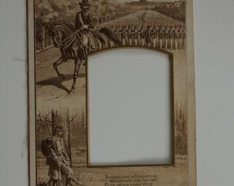 Antique Civil War Photo Mat with Poem
