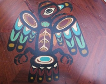 Eagle Platter Pacific Northwest Wood with Painting and Legend of Eagle