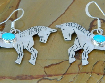 Native American Navajo Hand Stamped Sterling Turquoise Horse Earrings Signed Louise Yazzie