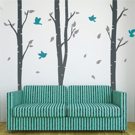 Birch tree wall decals and stickers with birds decor home for Beautiful birch tree wall mural