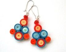 Geometric Quilled Paper Dangle Earrings, Orange Blue Earrings, Summer Paper Quilling Jewelry