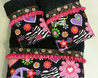 Peace, Hearts & Zebra Bath Towel Set ( READY TO SHIP )