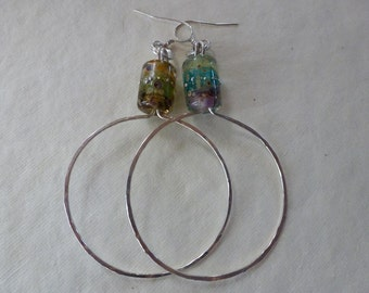 16 gauge Argentium silver hand hammered into 2 inch hoops embellished with watercolor Art Bead barrels look like Monet's Garden Earrings