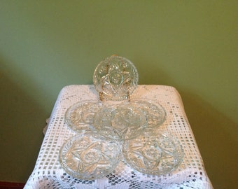 Set of 6 Clear Glass Anchor Hocking Coasters