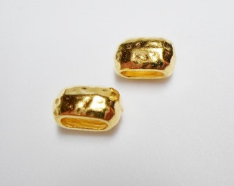 2 GOLD TierraCast 6mm Crimp Barrels, metal bead, jewelry finding,