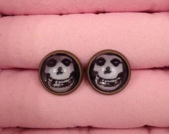 Handmade Misfits Skull Stud Earrings (12mm)