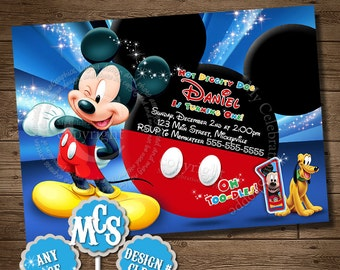 MICKEY MOUSE INVITATION, Birthday Invitation, Clubhouse Invitation, My Celebration Shoppe, Clubhouse Pintable, Twodles Invitation, Blue