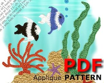 Crochet | Crochet pattern | Applique pattern | Crochet OCEAN REEF two