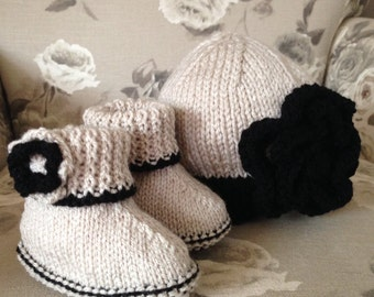 Knitted beanie hat and boots.