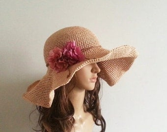 crocheted straw sun hat,floppy sun hat in nature ,big wide brim sun hat
