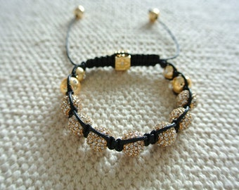 Luxury Handmade Shamballa Bracelet Gold Beads with Black Leather
