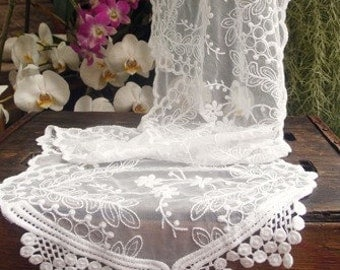 Custom Order Vintage Style Lace Table Runner with Beads or Pearls   Simply Stunning!!!!