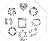 Cute QA87 Octagonal  Stamping Metal Plate with free gift of scraper&stamper