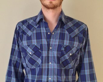 Vintage Western Pearl snap Blue Plaid Button Up Shirt
