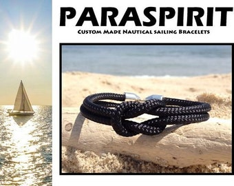Nautical Bracelet / Rope / Beach / Surfer Bracelet featuring a Reef Knot with Double Barrell Snap Clasp