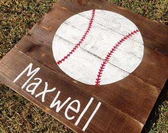 Sports Nursery Art, Boy Name Wall art, Baseball Art