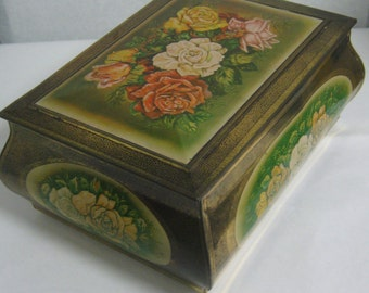 Very old BIG tin / tin can with lid made of sheet metal with lush rose motif on gold. Vintage