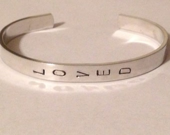 LOVED-custom stamped bracelet cuff