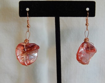 Unique Pink Stone Earrings Wrapped in Copper Wire