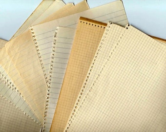 Aged Vintage blank notebook sheets - Lot of 20