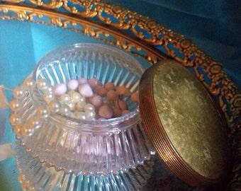 Beautiful Cut Glass Powder/Trinket Jar Hollywood Regency Art Deco