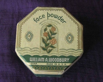 Vintage Woodbury Face Powder Box with Contents - Circa 1940's