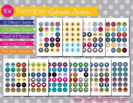 NEW Printable Planner Stickers Everyday Set by PolkaDotPosiePrint