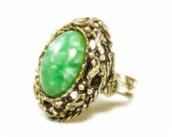 Stunning Large Marbled Green Cabochon in Golden Nest Ring - Adjustable