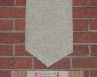 Neutral Khaki Cream Scrolls Necktie Infant, Child, Youth, Teen, Men