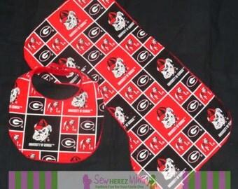 UGA Georgia Bulldogs Custom Unisex Bib Burp Cloth Set