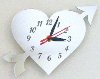 Love Heart Clock Mirror - 2 Sizes Available