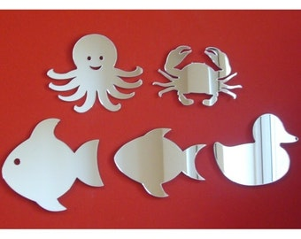 Set of Sea Life Mirrors - Octopus, Fish with Eye, Fish,, Crab & Duck