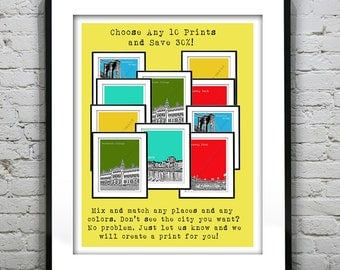 10 Pack Bundle Art Print Posters Mix and Match Your Choice any Cities, Colors, Size