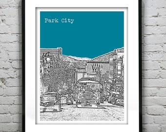 Park City Utah Poster Print Art Skyline  UT