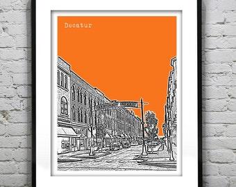 Decatur IL City Skyline Poster Print Art Illinois