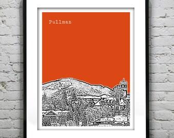 Pullman Washington Skyline Poster Art Print