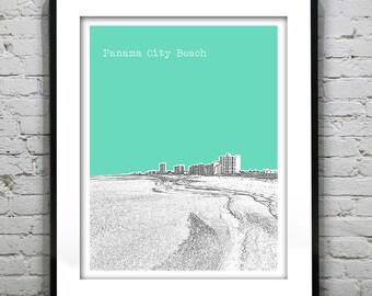 Panama City Beach Florida Skyline Poster Art Print Image FL