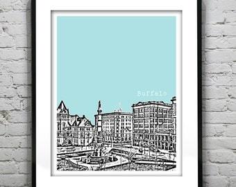 Buffalo New York Poster Art Skyline Print NY Lafayette Square Version 4