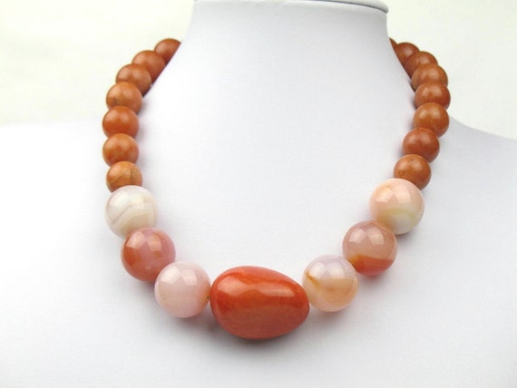 Bead Necklace in Orange with Earthy Rose Quartz, Agate and Tagua Nut Bead / Womens Gift for Her by elle & belle