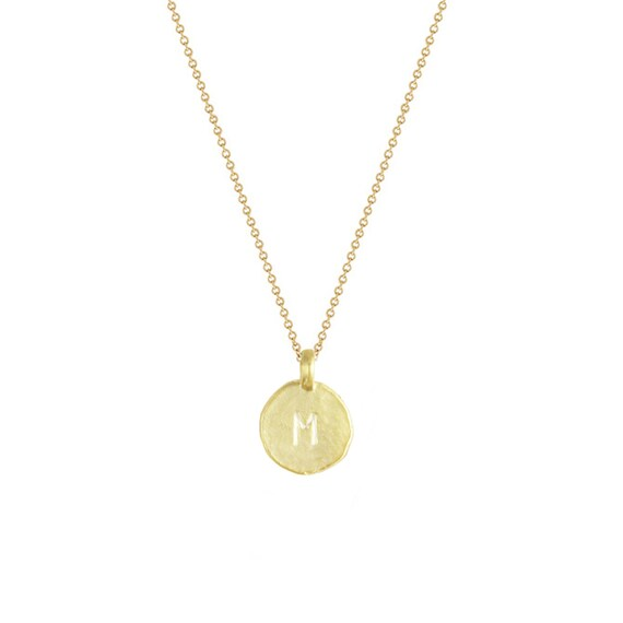 14 karat gold vermeil initial m necklace