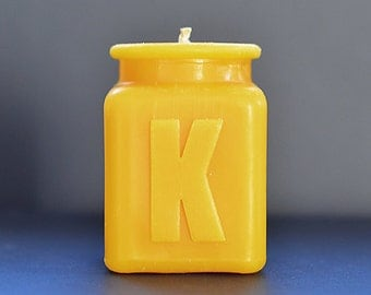 Beeswax Candle Personalized Monogram Letter K , Table Number, All Letters and Numbers Available