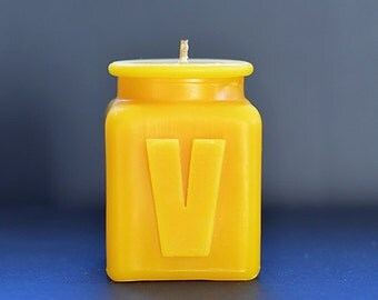 Beeswax Personalized Monogram Letter V Candle, Table Number, All Letters and Numbers, Great Gift for Parents, Coworkers, and Friends