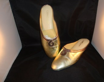 Vintage Daniel Green Classic Gold/Bronze Leather Slippers/Shoe Size 7 (1970s) (New Old Stock)